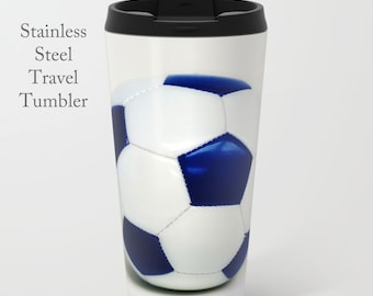 Soccer Tumbler-Travel Mug-Stainless Steel Tumbler-15 oz Tumbler-Soccer Coffee Mug-Insulated Travel Mug-Personalized Mug-Team Gift-Grad Gift