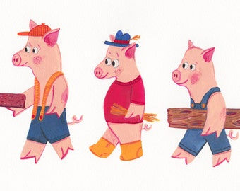 Original Illustration A5 - Three Little Pigs