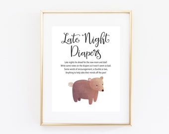 Bear Late Night Diapers, 8x10 Printable Baby Shower Game, Party Sign, Woodland Animals, Gender Neutral, Gender Reveal Part Diaper Thoughts