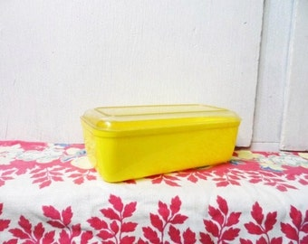 LUSTRO-WARE Refrigerator Dish-Yellow-Clear Lid-Stock # L37-Columbus Plastic Products-Ohio-USA-Vintage Plastic Dish-Orphaned Treasure-070616G
