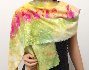 Scarf Bamboo Hand Dyed Ice Soft Multicolored Colorful Elegant Lightweight Spring Colors Handmade Bright Fuchsia Pink Lime Green Lemon Yellow