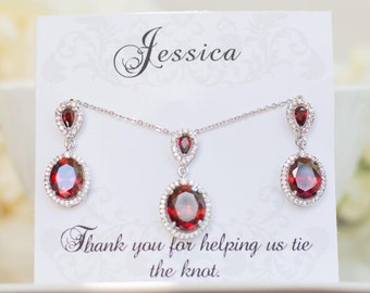 Bridesmaid Gifts | Blue Sapphire Earrings | Garnet Earrings | Bridesmaid Sets | Bridesmaid Jewelry | Bridesmaid Earrings | Wedding Jewelry