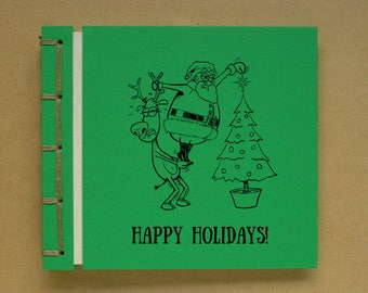 Personalized Handmade Photo Album Scrapbook, Christmas and New Year, Funny Cartoon Drawing, Santa Claus and Rudolph