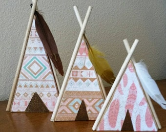 Teepee set of three, wooden, hand made, nursery, home decor, woodland, tribal, cabin, Free Ship in US, house warming, thanksgiving, gift set