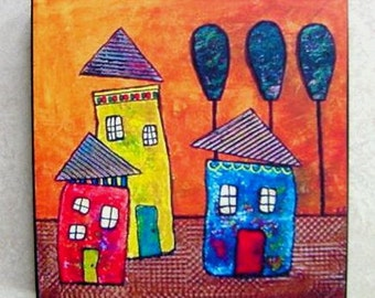 Houses Original Print on Wood Block