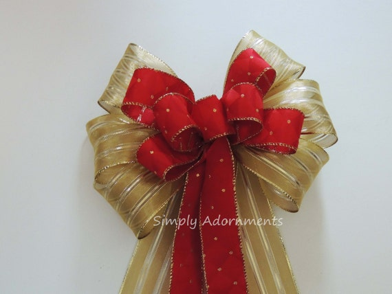 Brick Red Gold Christmas Wreath Bow Gold Diamond Red Christmas Tree Bow Red Gold Winter Holidays Door Hanger Bow Red Gold Wedding Pew Bow