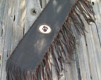 Chanupa bag , Fringed leather pipe bag  with beaded bear totem , Leather pipe bag