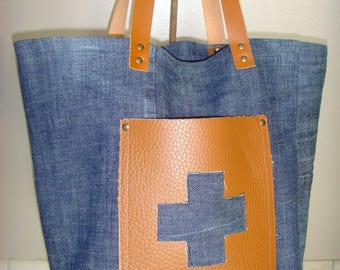 MINI tote - Bag in denim and leather pouch