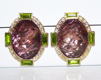 Designer Signed Arnold Scaasi CN Rhinestone Earrings Clip On Vintage Jewelry