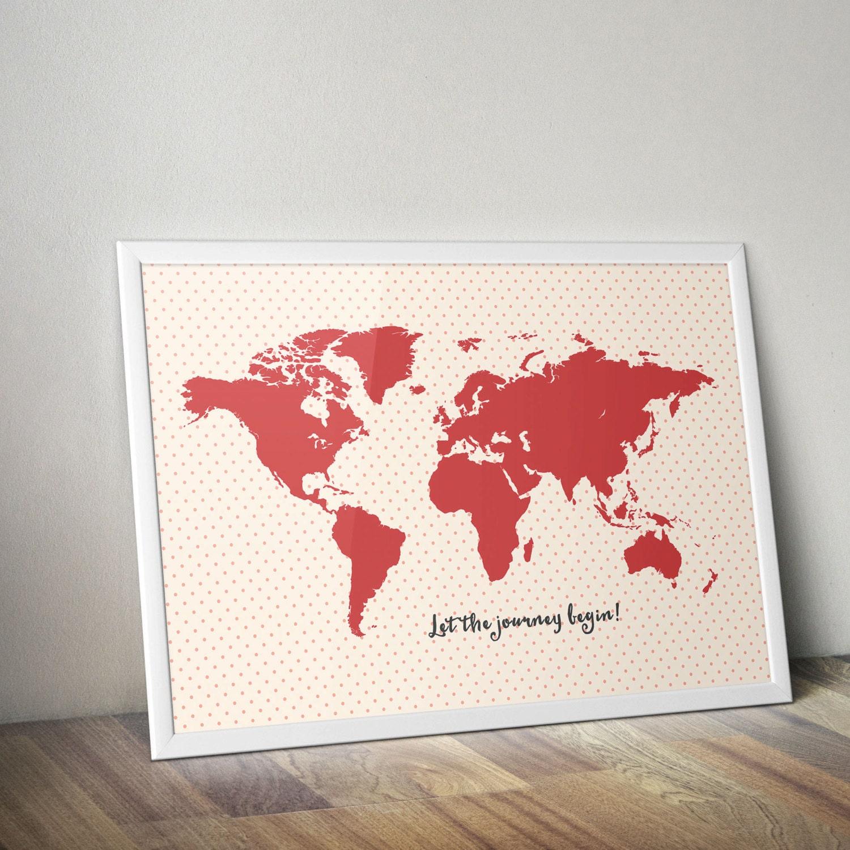 World map print 13 size a1 a2 a3 a4 world map kids wall art description pink world map gumiabroncs Images