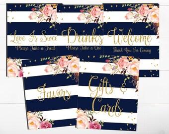 Navy Pink Floral Gold Glitter Navy Floral Boho Wedding Table Sign Bridal Shower Floral Wedding Printable Welcome Favors Cards Gifts Drinks