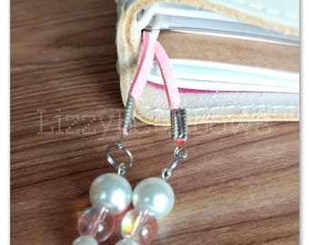 Pink and Pearls planner tails, bookmark, TN charm, notebook charm, tassel, beads, pink irridesent beads and pearls  white, pink