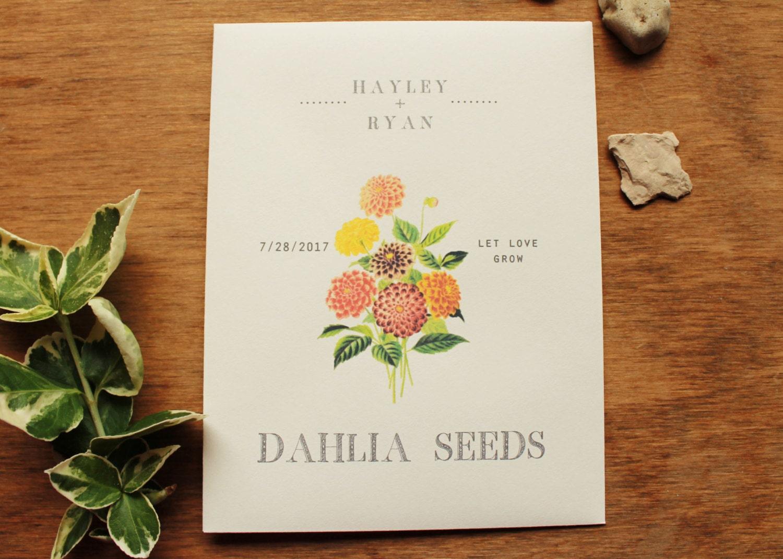 Dahlia Seed Envelopes Zinnia Seed Packets Wedding Favors