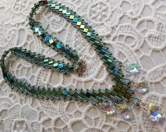 Crystal Dangle Beadwoven Necklace, Metalic Green Beaded Necklace, Unique Beadwork, Beadweaving Jewelry, Perfect Gift, Wedding Jewelry