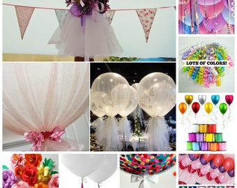 Balloon Tassel Balloon ADD ON ONLY Garland Tulle Balloon Fabric Ribbon Bow Plastic String Paper Flowers Trio Balloon Tie On Balloons