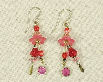 Pink and Red Tulip Earrings- J-11