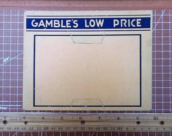Vintage Store Price Display Price Tag Holder Gamble's Low Price