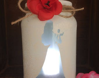 Belle beauty and the beast lantern hand painted