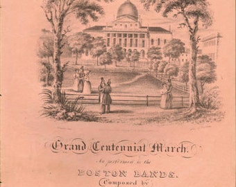 1830's Antique LITHOGRAPH BOSTON COMMONS The Centennial March by Ch.Zeuner Antique Sheet Music