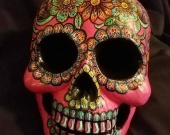 Hand-painted Dia de los Muertos Skull (human head sized)