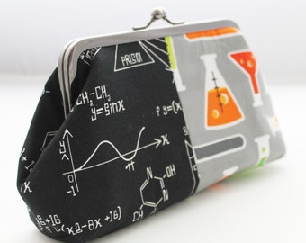Black and grey science lab clutch