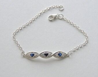 DNA Bracelet - Blue Sapphire DNA Silver Bracelet - Personalized DNA Bracelet