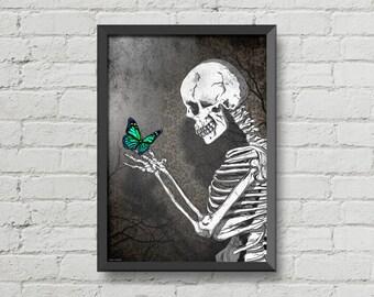 The skeleton butterfly,original artwork,digital print,skulls poster,skulls art,gothic,skull,black & white,christmas gift,wall decor