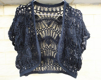 Black Crochet Bolero Jacket