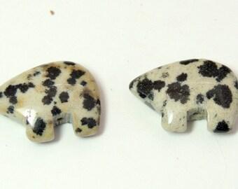Dalmatian Jasper  Zuni Bear Beads  Pair for earrings  black spots make your own Dreamcatcher or earrings Teen Size 12 x 18 mm