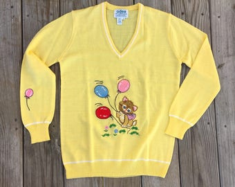 Adee of California Kitty Kitten Cat Balloon Sweater Yellow 1970's Medium