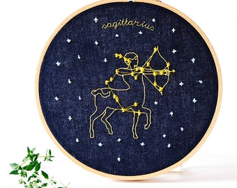 Sagittarius (November 22 - December 21) zodiac embroidery