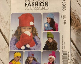 Fashion Accessories McCall's Crafts Pattern M5993 Hat Mittens and Scarf Pattern