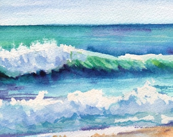 Ocean Waves of Kauai I  5x7 Art Print from Kauai Hawaii teal turquoise blue sand