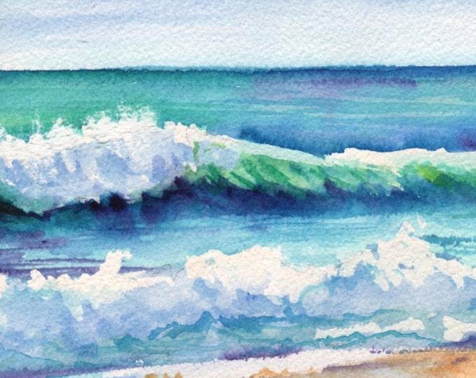 Ocean Waves of Kauai I  5x7 Art Print from Kauai Hawaii teal turquoise blue sand