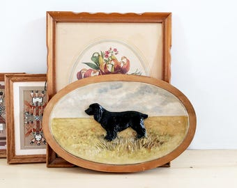 Vintage Wood Wall Art With Dog / Wood Wall Hanging / Wood Spaniel Carving / Painted Wood Wall Hanging