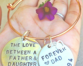 Bangle Bracelet,the love between a father and daughter is forever, father daughter jewelry, bangle, natashaaloha