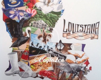 Louisiana Art Print, Crawfish, Pelcan Art, Louisiana wall art, Louisiana art collage, Fleur de Lis, Bourbon Street, Louisiana music