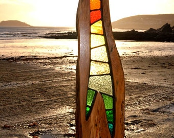 Cirrus Wood and Stained Glass Sculpture