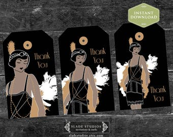 Great Gatsby Glamour 1920s Flapper Party. Thank You Party Bag Swing Tags. Printable. Download TODAY.