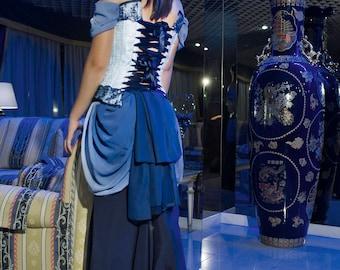 GOWN outfit blue brocade VICTORIAN CORSET fishtail stretchy silk skirt and chiffon blue overskirt, ooak, sexy original design, edwardian