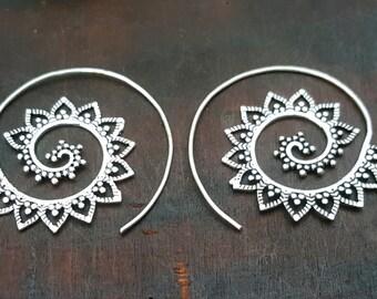 Gypsy Mandala Silver Earrings