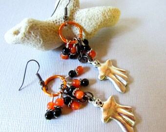Ghost Earrings, Halloween Earrings, Black and Orange Earrings, Goth Earrings, Dangle Spirit Earrings, Halloween Jewelry, Spooky Earrings