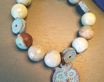 Opal and Mykonos Patina Bracelet,  Owl Bracelet, Beaded Stretch Bracelet