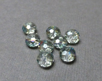 Sparkly Rainbow Glass Beads. Rondelle Faceted Glass Beads. Light Teal Glass Beads. 6mm. Eight (8).