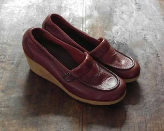 1970's Morgan Quinn Leather Wedge Loafers