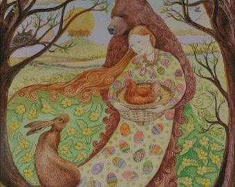 Spring Equinox animals seasons bear hen chicken rabbit godess counted cross stitch pattern