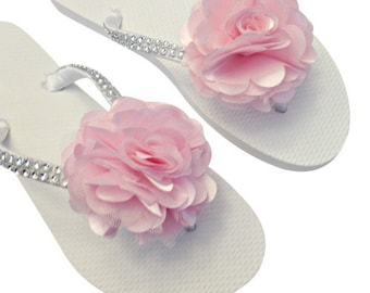 Bridesmaid Flip Flops - Light Pink Wedding - Flower Flip Flops - Beach Wedding - Light Pink Flip Flops - 30 Colors Available