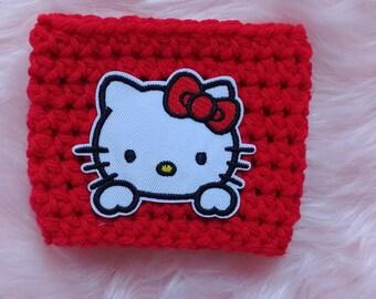 Hello Kitty - Crochet Cup Cozy - Drink Cozy - Coffee Cozy