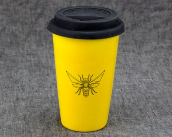 16oz Hand Painted Travel Mug with Faceted Bee