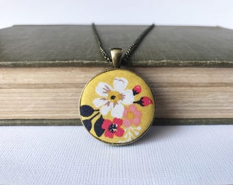 Mustard yellow pendant necklace - bronze round pendant - vintage daydream floral gold - riley blake fabric necklace - fall jewelry - autumn